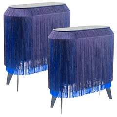 Set of 2 Blue Fringe Side Table / Nightstand, Made in France