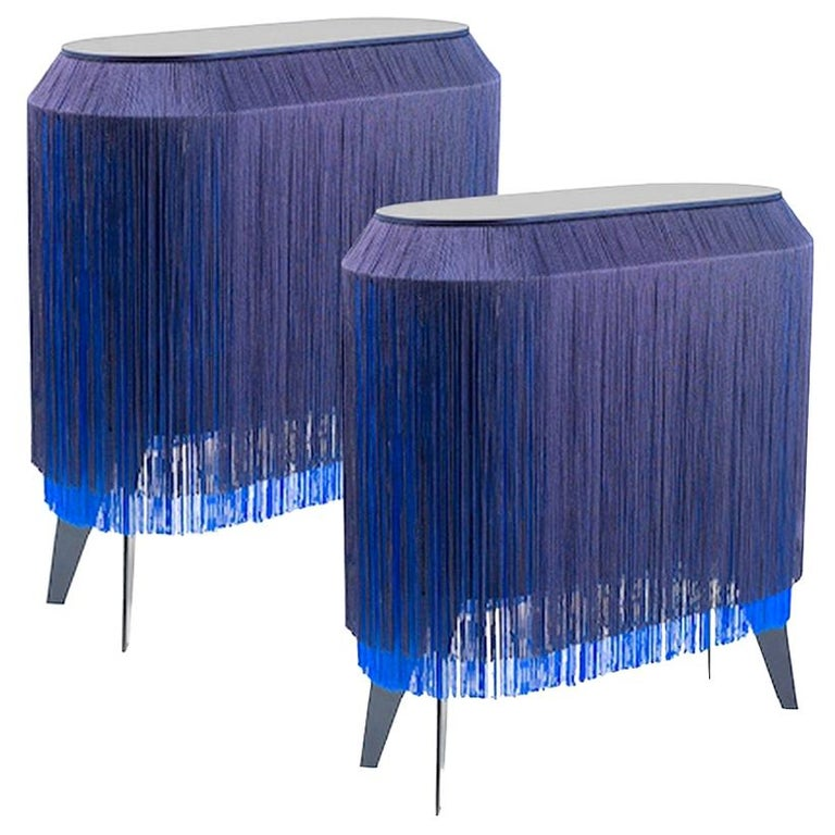 Set of 2 Blue Fringe Side Table / Nightstand, Made in France For Sale