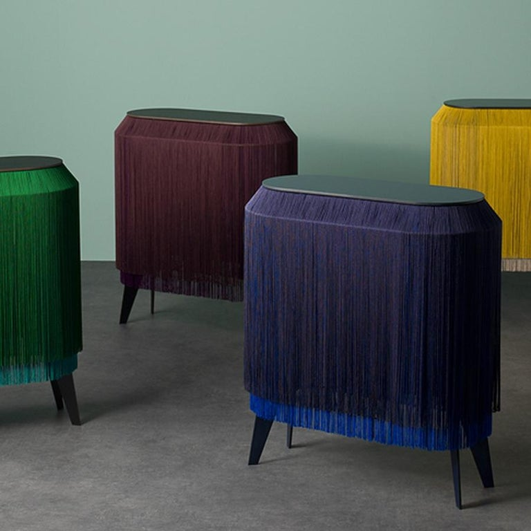 Contemporary Set of 2 Blue Fringe Side Tables or Nightstand, Made in France For Sale