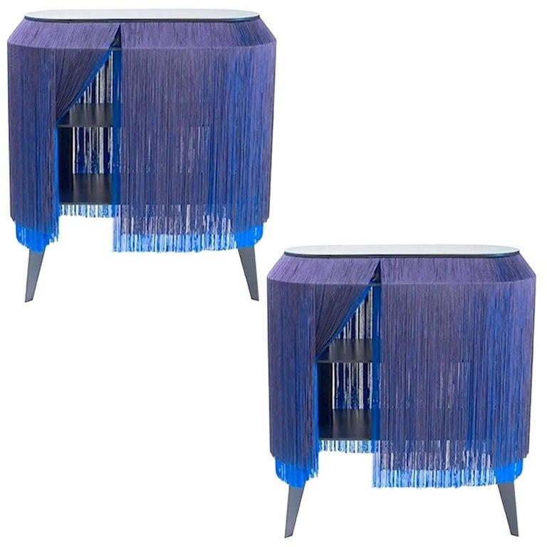 Set of 2 Blue Fringe Side Tables or Nightstand, Made in France For Sale