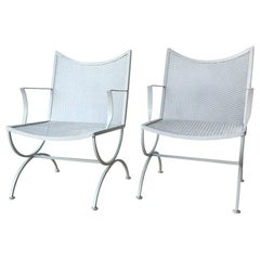 Set of 2 Bob Anderson Newly Enameled White Wrought Iron Patio / Garden Armchairs
