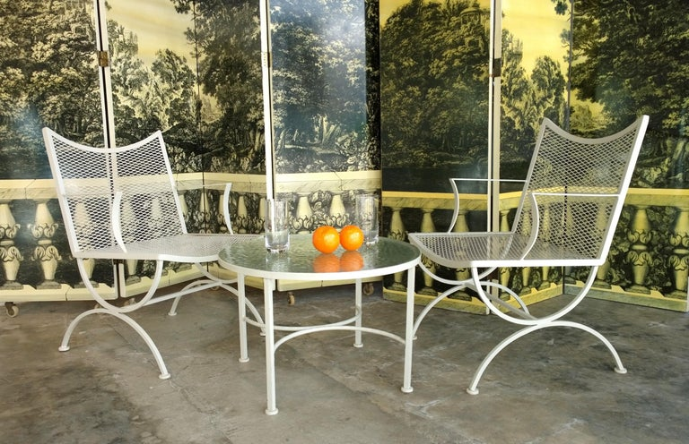 Set of 2 Bob Anderson Refinished Wrought Iron Side Chairs in Almond White For Sale 8
