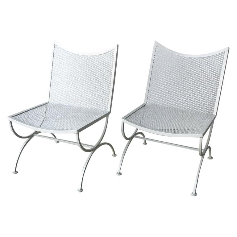Set of 2 Bob Anderson Refinished Wrought Iron Side Chairs in Almond White For Sale