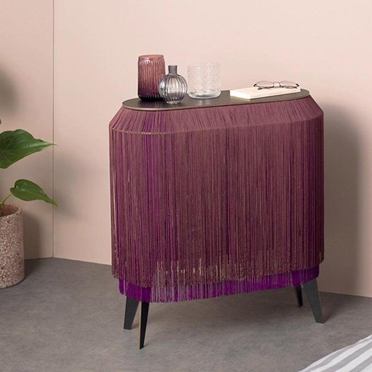 Modern Set of 2 Bordeaux Fringe Side Tables / Nightstand, Made in France For Sale