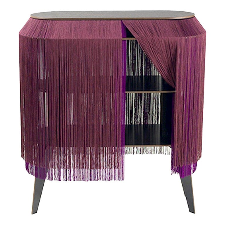 Set of 2 Bordeaux Fringe Side Tables / Nightstand, Made in France In New Condition For Sale In Beverly Hills, CA