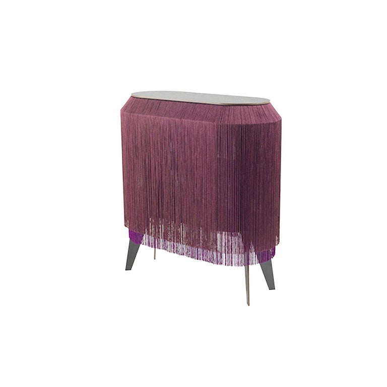 Contemporary Set of 2 Bordeaux Fringe Side Tables / Nightstand, Made in France For Sale