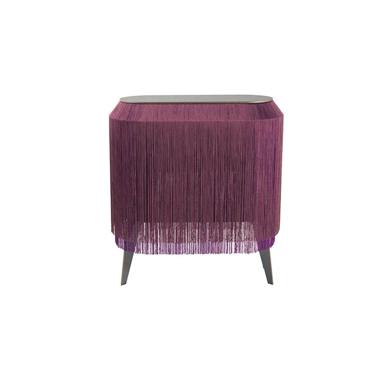 Fabric Set of 2 Bordeaux Fringe Side Tables / Nightstand, Made in France For Sale