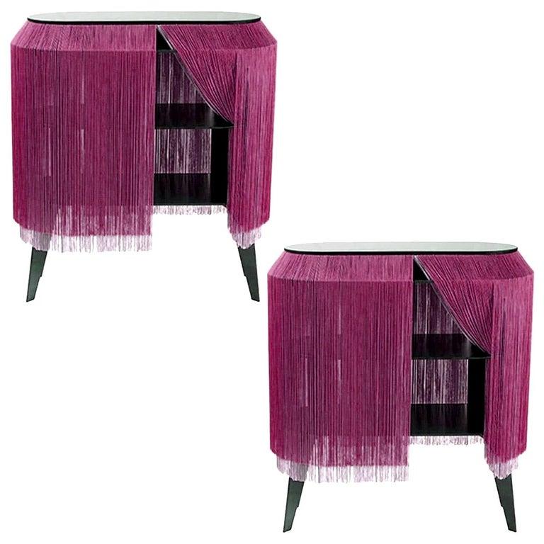 Set of 2 Bordeaux Fringe Side Tables / Nightstand, Made in France For Sale