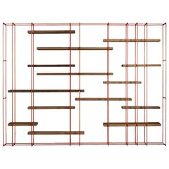 Set of 2 Brass and Wood Bookshelves Cage B