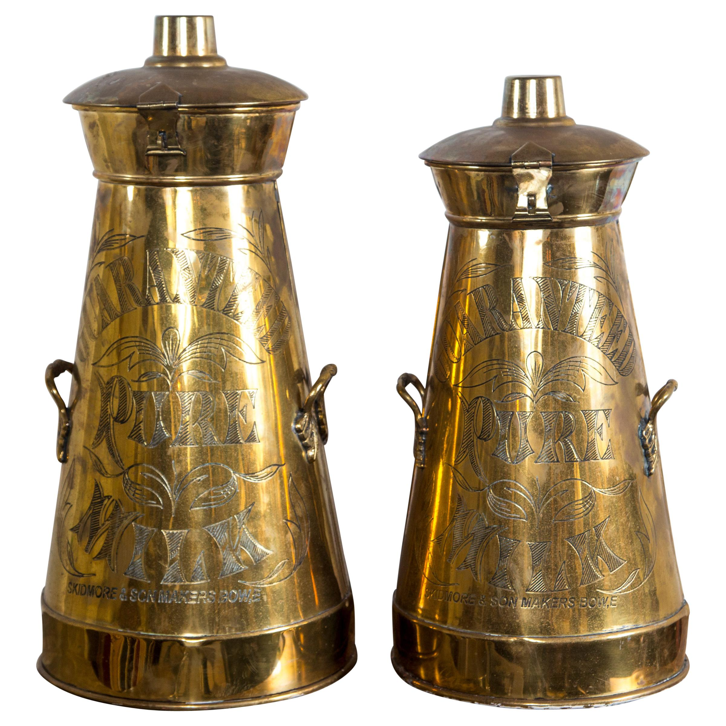 Set of 2 Brass Milk Containers