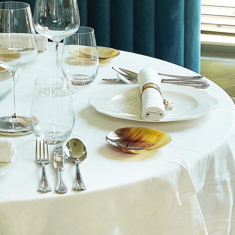 Set of 2 Bread Plates in Natural Corno Italiano, Mod. 194 In New Condition For Sale In Recanati, Macerata
