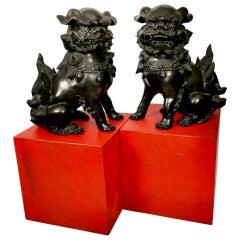 Set of 2 Bronze Shishi Okimono Sculptures, Signed Hideyama, Showa, 20th C