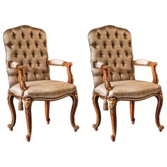 Set of 2 Brown Capitonne Dining Armchairs