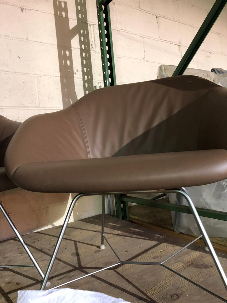 European Set of two Walter Knoll Leather Turtle Lounge Chairs For Sale
