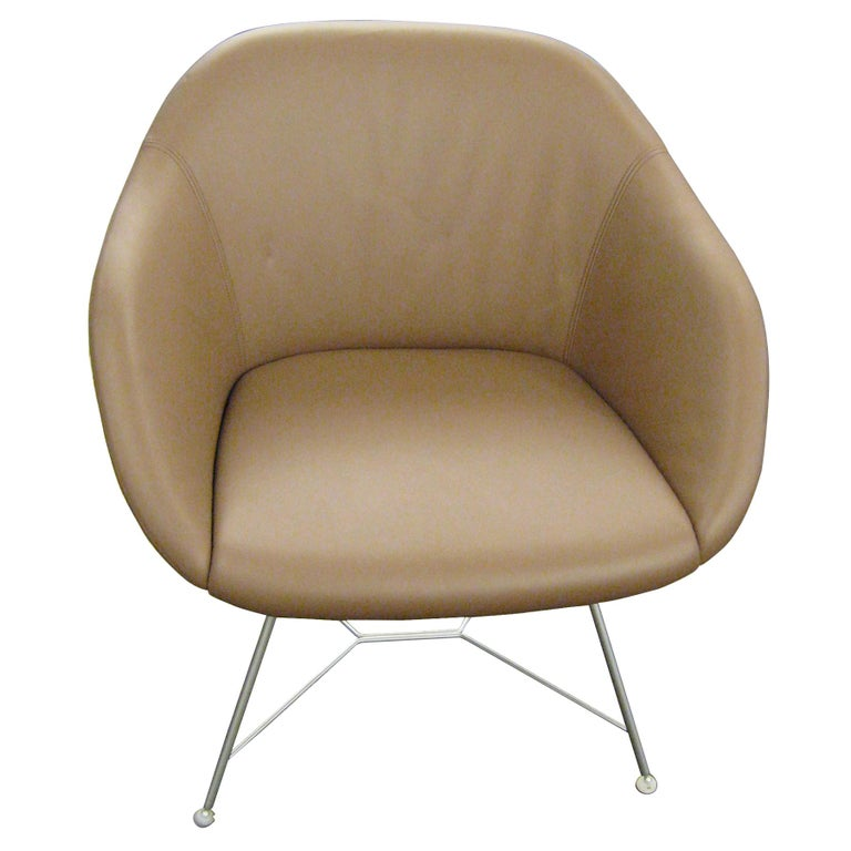 Set of two Walter Knoll Leather Turtle Lounge Chairs For Sale