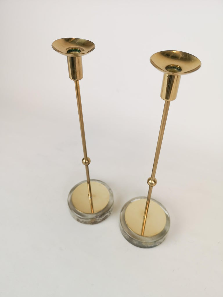 Swedish Set of 2 Candleholders Ystad Metall, Sweden, 1950s For Sale