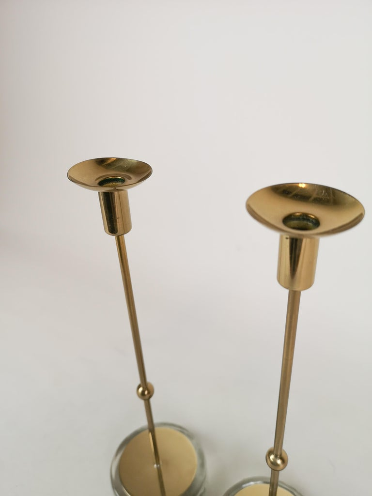 Set of 2 Candleholders Ystad Metall, Sweden, 1950s In Good Condition For Sale In Langserud, SE