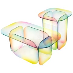 Set of 2 Candy Dichroic Glass Coffee Table Sculpted by Studio-Chacha
