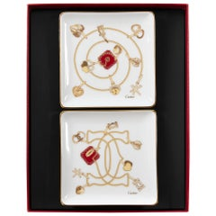 Set of 2 Cartier Porcelain Small Jewelry Plates