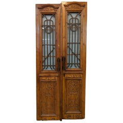 Vintage Set of 2 Carved Doors from Egypt with Original Ironwork