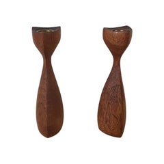 Set of 2 Carved Teak Danish Modern Candleholders or Stands, Denmark, 1950s