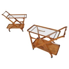 Set of 2 Ceder Wooden Bar Cart / Trolley by Cesare Lacca, Cassina Italy, 1950's