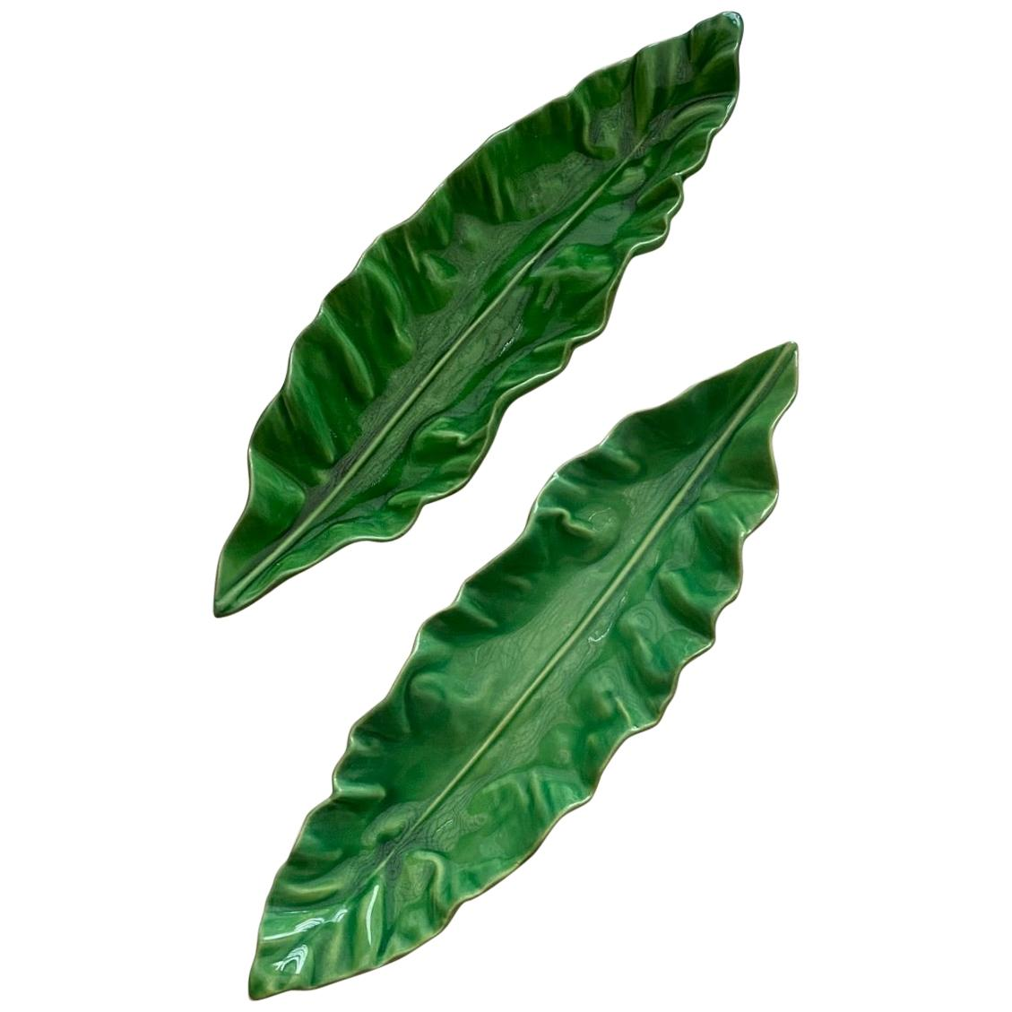 Set of 2 Ceramic Green Leaves Dishes by Pol Chambost 1950s