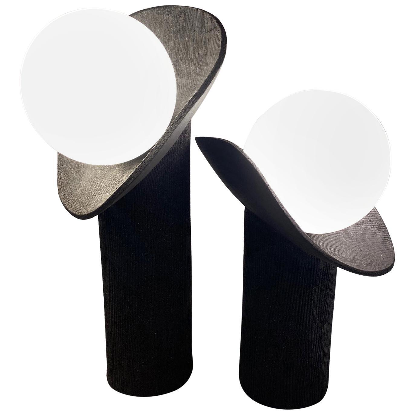 Set of 2 Ceramic Lamps by Olivia Cognet