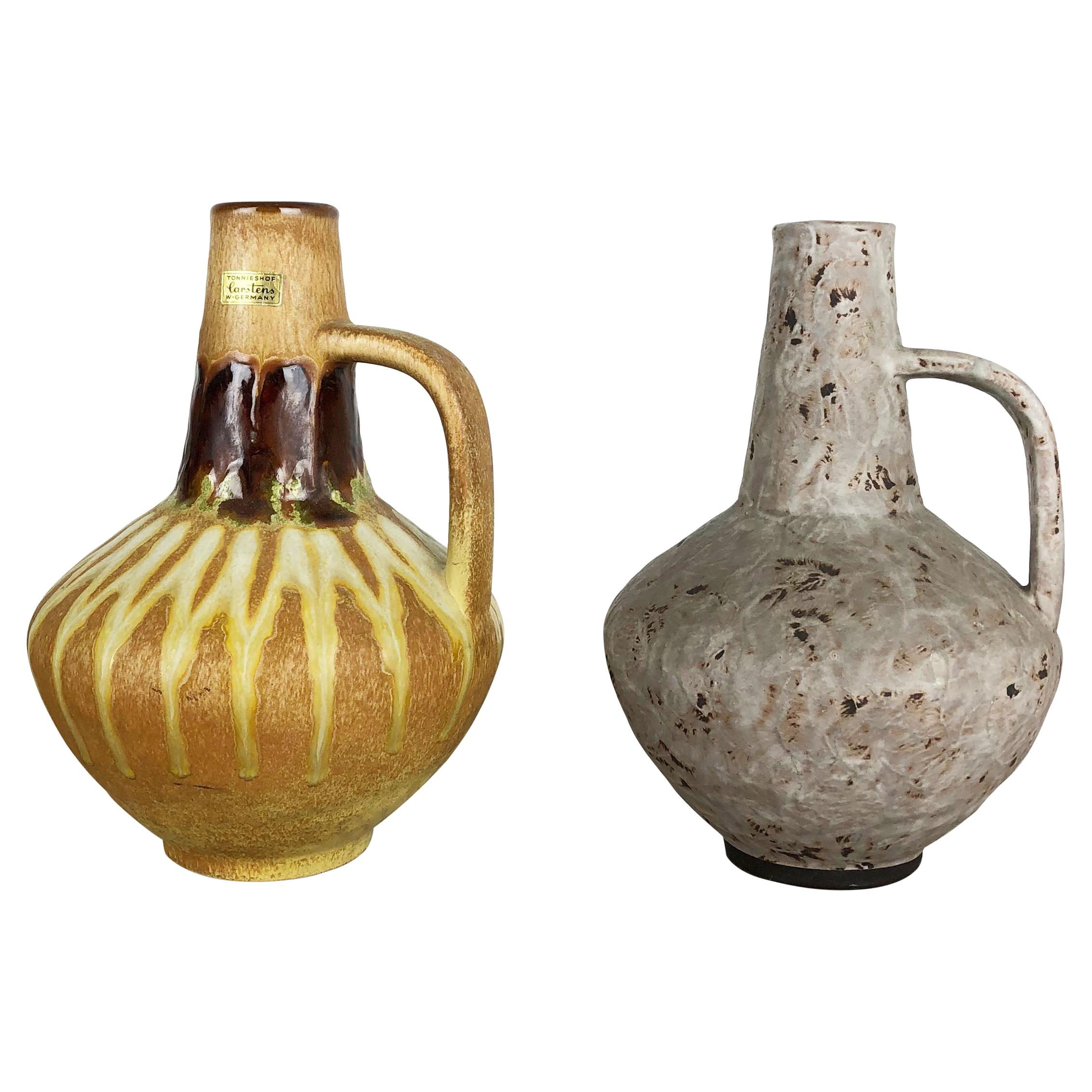 Set of 2 Ceramic Pottery Vase Heinz Siery Carstens Tönnieshof, Germany, 1970s
