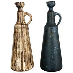 Set of 2 Ceramic Studio Pottery Vase by Gerhard Liebenthron, Germany, 1980s