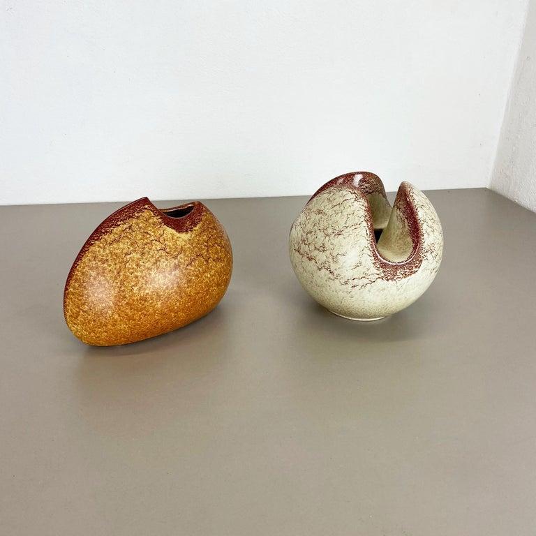 Mid-Century Modern Set of 2 Ceramic Studio Pottery Vases by Bertoncello Ceramics, Italy 1970s For Sale