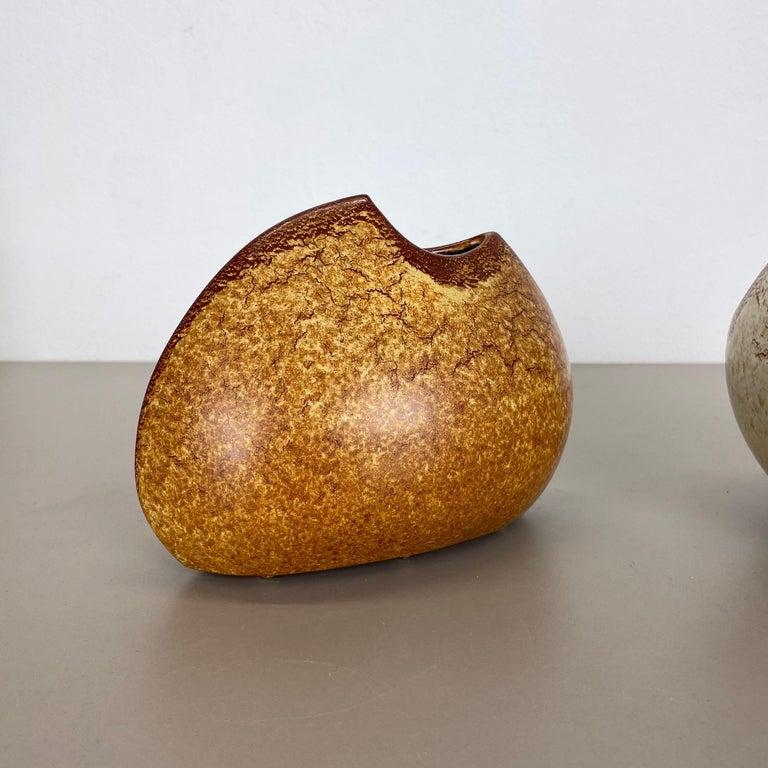 German Set of 2 Ceramic Studio Pottery Vases by Bertoncello Ceramics, Italy 1970s For Sale