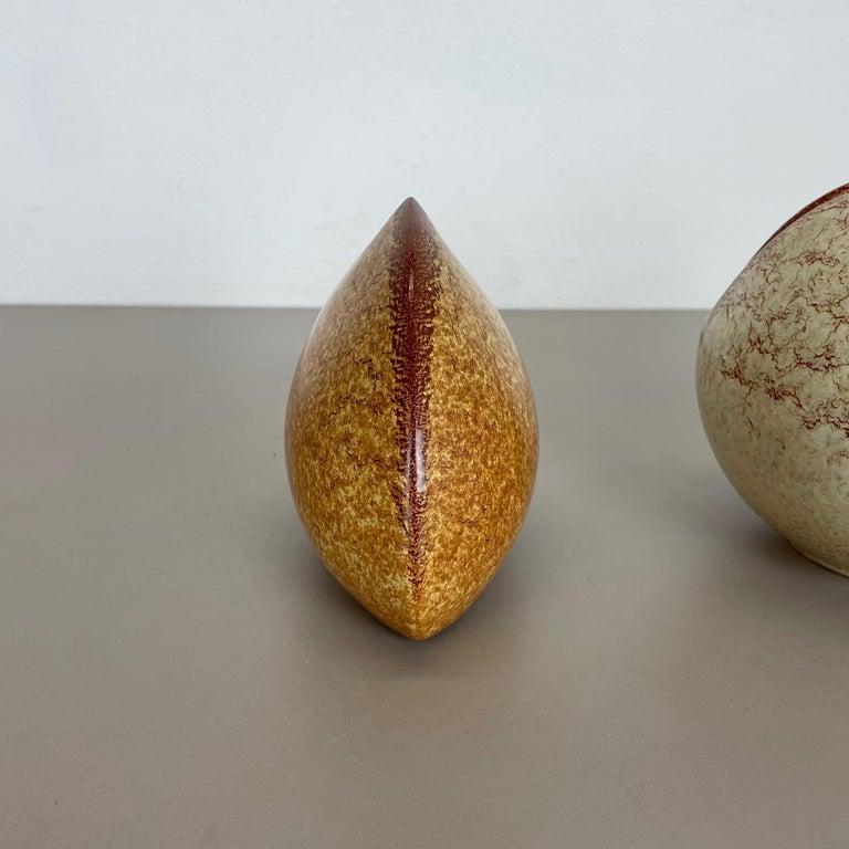 20th Century Set of 2 Ceramic Studio Pottery Vases by Bertoncello Ceramics, Italy 1970s For Sale