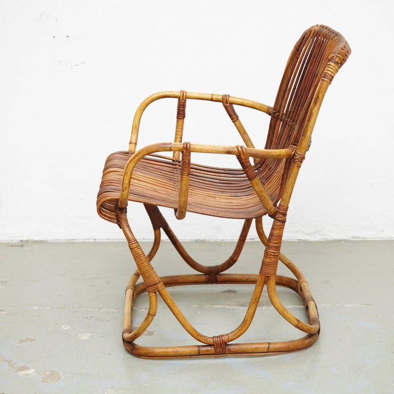 Set of 2 Chairs and 2 Bamboo Stools by Tito Agnoli, circa 1960 For Sale 14