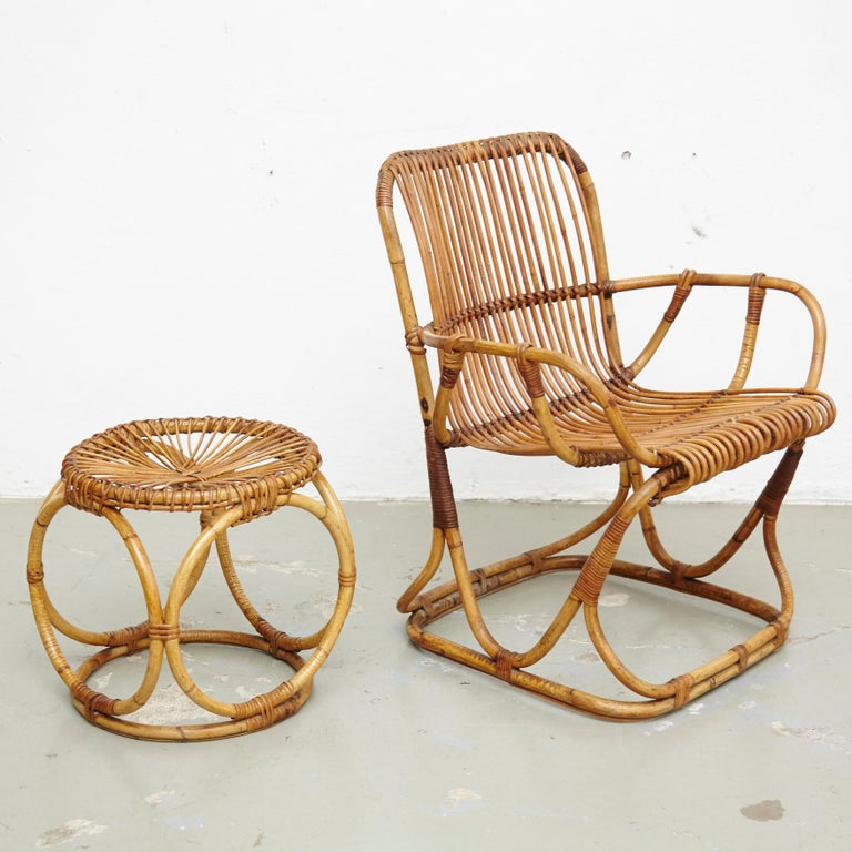 Italian Set of 2 Chairs and 2 Bamboo Stools by Tito Agnoli, circa 1960 For Sale