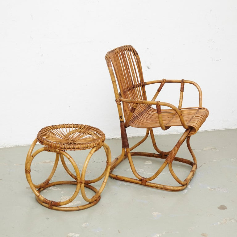 Set of 2 Chairs and 2 Bamboo Stools by Tito Agnoli, circa 1960 In Good Condition For Sale In Barcelona, Barcelona