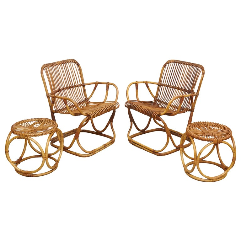 Set of 2 Chairs and 2 Bamboo Stools by Tito Agnoli, circa 1960 For Sale