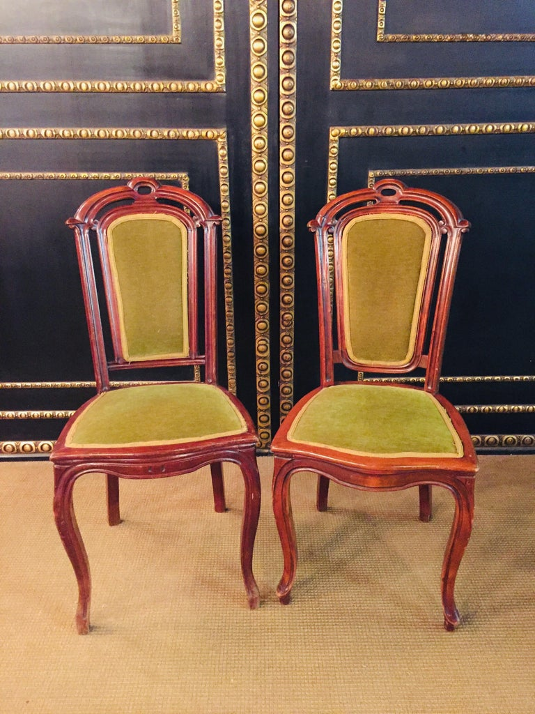 Set of 2 Chairs Mahogany, Late Biedermeier, circa 1860 For Sale 6