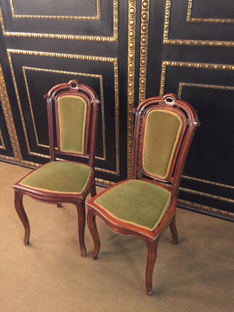 German Set of 2 Chairs Mahogany, Late Biedermeier, circa 1860 For Sale