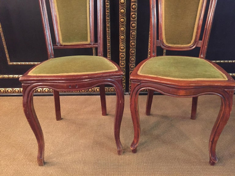 Woodwork Set of 2 Chairs Mahogany, Late Biedermeier, circa 1860 For Sale