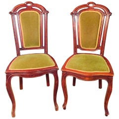 Set of 2 Chairs Mahogany, Late Biedermeier, circa 1860