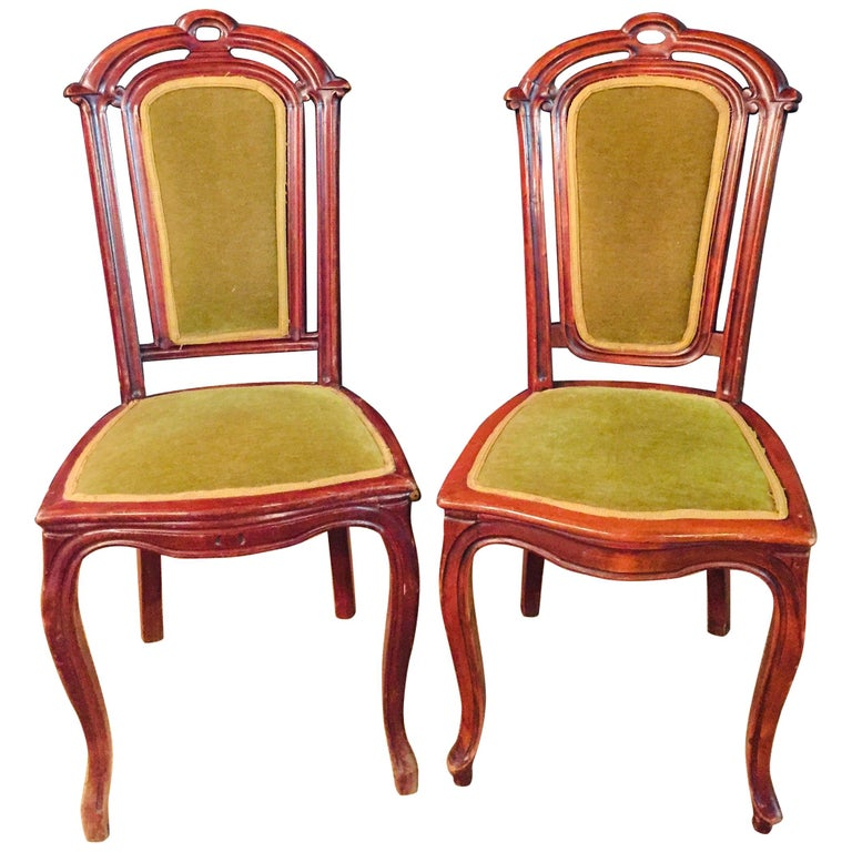 Set of 2 Chairs Mahogany, Late Biedermeier, circa 1860 For Sale