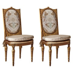 Set of 2 Chairs Upholstered with Gold Inlays
