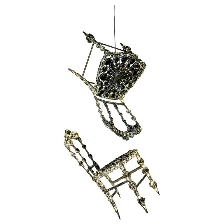 """Set of 2 """"Chaises Suspendues"""" in Crystal by Geraldine Gonzalez For Sale"""