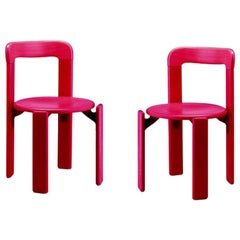 Set of 2 Children Chairs in Wood, Mid-Century Modern, Design 1971, in Pink