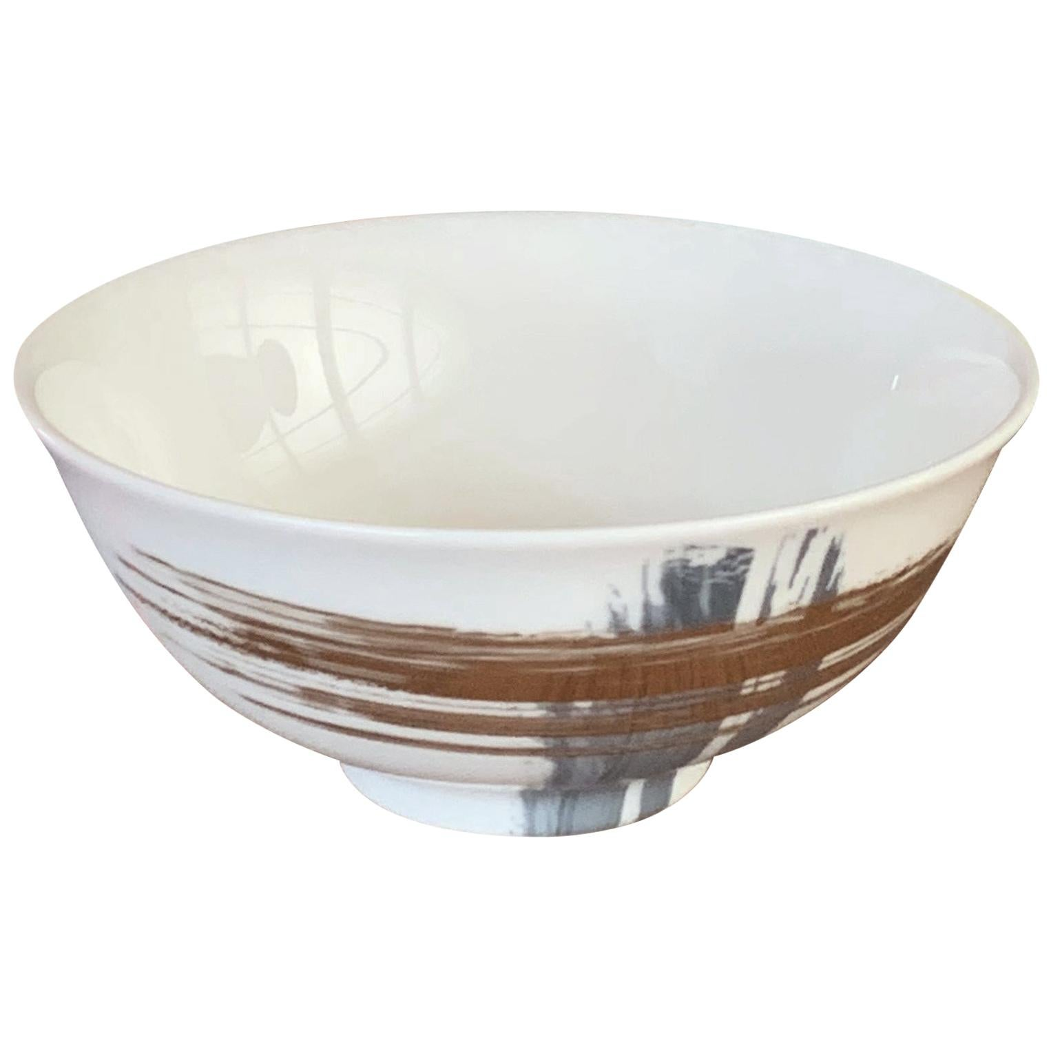 Set of 2 Chinese Rice Bowl Artisan Brush André Fu Living Tableware New