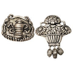 Set of 2 Chinese Silver Amulets
