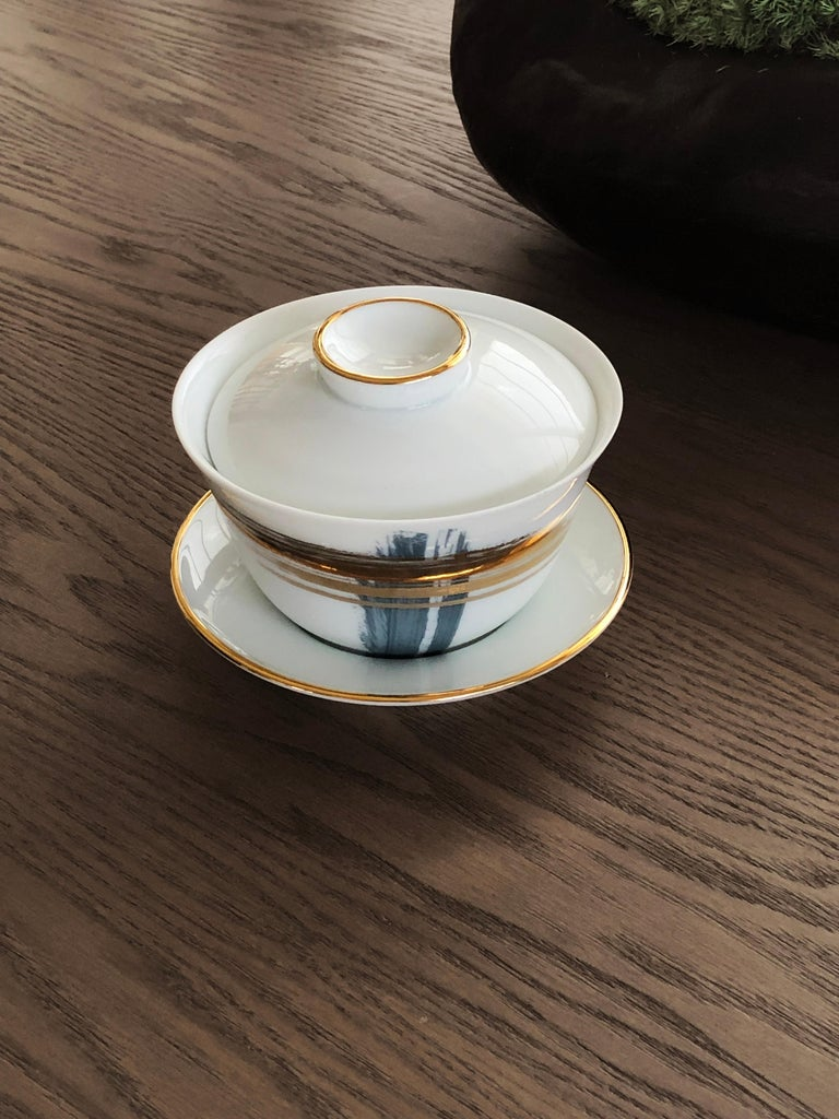 Modern Set of 2 Chinese Tea Cup Gaiwan Set Artisan Brush André Fu Living Tableware For Sale