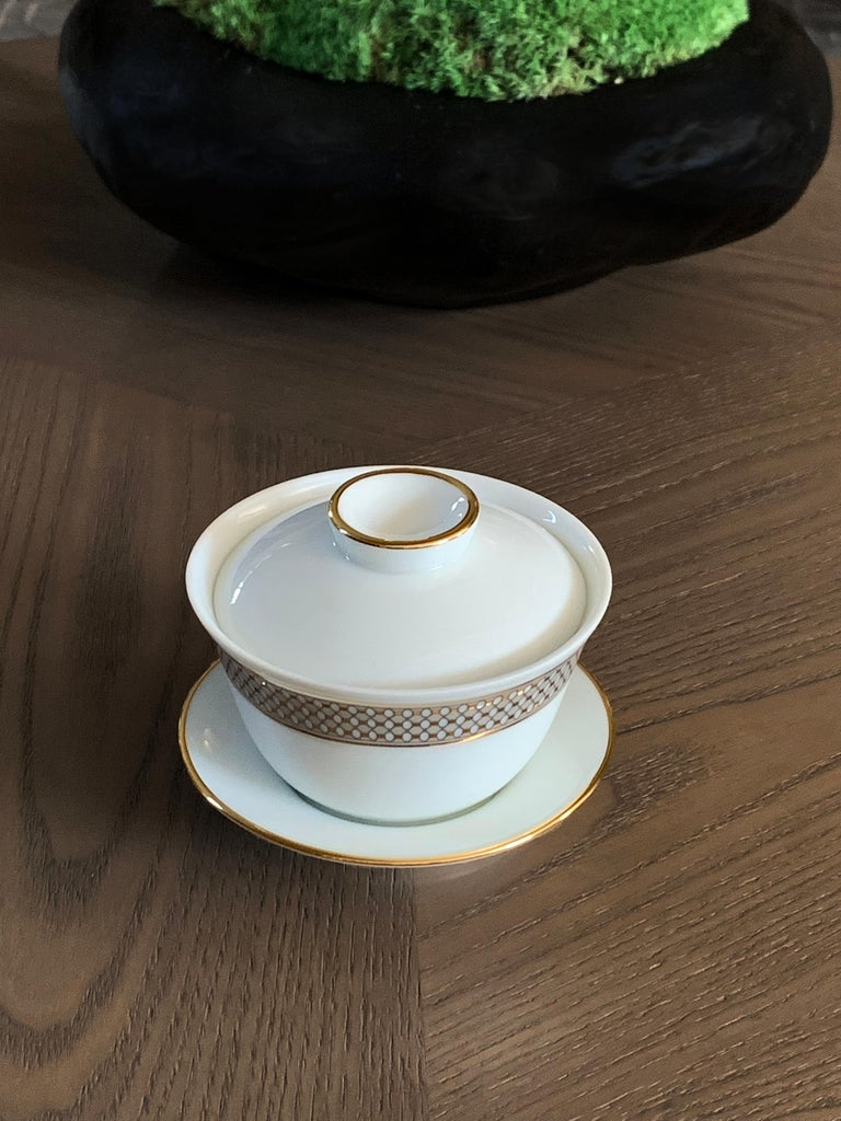 Set of 2 Chinese Tea Cup Gaiwan Set Modern Vintage André Fu Living Tableware In New Condition For Sale In CENTRAL, HK