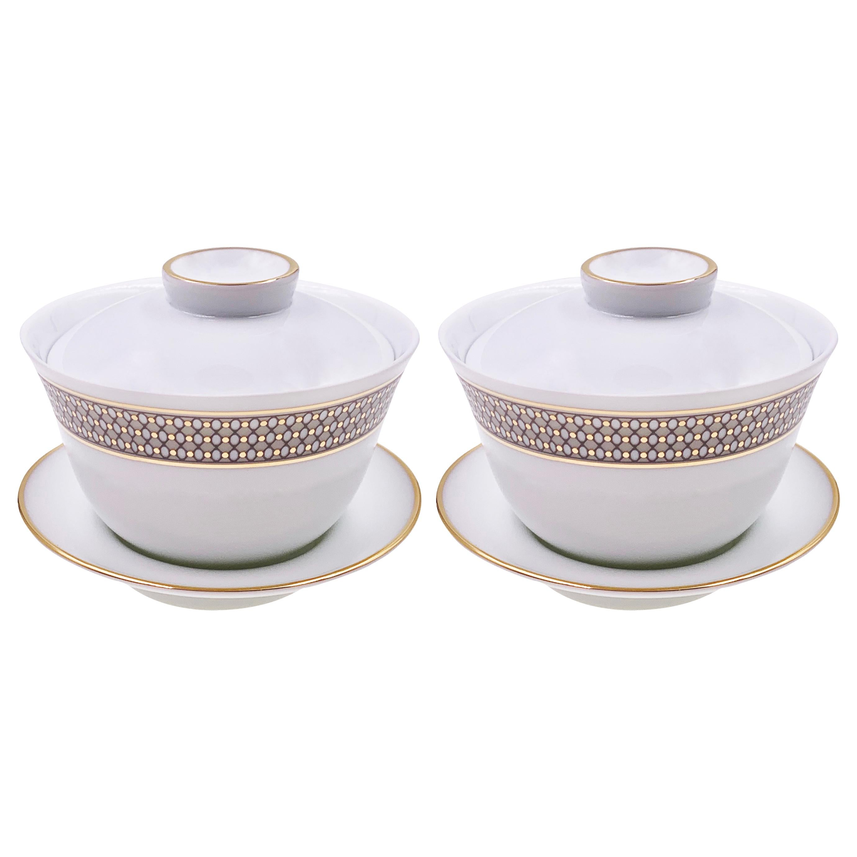 Set of 2 Chinese Tea Cup Gaiwan Set Modern Vintage André Fu Living Tableware
